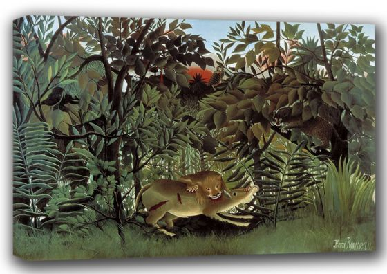 Rousseau, Henri: The Hungry Lion Throws Itself on the Antelope. Fine Art Canvas. Sizes: A4/A3/A2/A1 (001230)